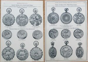 Gold Pocket Watch 18/16 Cases Advertising/Print/Marshall Field 1893 Catalog Page
