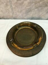 "Vintage Mid-Century Amber 8"" Thick Glass ASHTRAY With Oak Wood Base Wood Crafts"