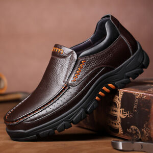 Mens Cow Leather Fashion Non Slip Casual Slip On Casual Round Toe Oxfords Shoes
