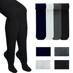 Girls Plain Lycra Tights Soft Cotton Rich School Uniform 3-4 5-6 7-8 9-10 Years