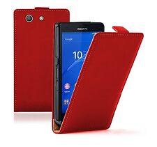 Ultra Slim Cuero Rojo Funda Protector Para Sony Xperia Z3 Compacto Experia