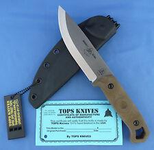 TOPS Brakimo Knife Canvas Micarta 1095 Carbon Steel USA Made Bushcraft Global