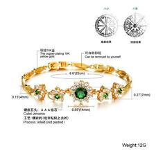 18K Yellow gold GF Lab Diamond Accent Green Emerald Soild Bangle bracelet
