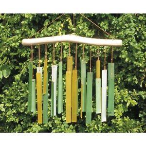 My Family House Wind Chime - Greenish - Glass & Wood - Handmade - 38 cm