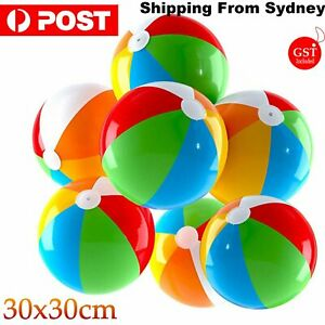 1-15Pcs Inflatable Rainbow Beach Ball Kids Pool Play Party Water Game Summer Toy