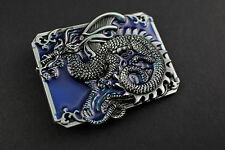RECTANGULAR DARK BLUE CHINESE DRAGON BELT BUCKLE  CALENDAR TRADITIONAL FANTASY