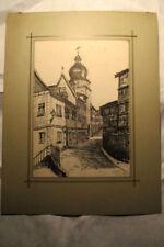 original Tusche Zeichnung Emil Rädlein Coburg 1899, Mauer Spitalturm