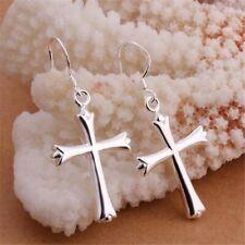 Hook Hoop Earrings Men Women E37 925 Sterling Silver Cross Dangle Drop