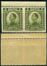 32.Yugoslavia 1921 definitive vertical IMPERFORATED pair MNH & MH mi 151