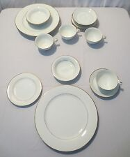 "Vtg Noritake China 5930 ""DAWN"" 24 pc, 6 piece service for 4 white gold trim"