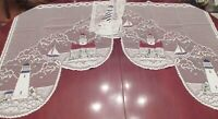 Heritage Lace LIGHTHOUSE Swag Valance  Maritime Motif Shoreline Nautical New