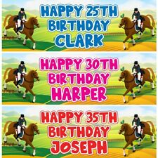 2 Personalised Horse Jockey Birthday Party Celebration Banners Decoration Poster