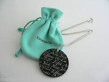 Tiffany & Co Silver Black Onyx Large Notes Round Circle Necklace Pendant Rare