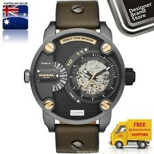 New Diesel Mens Watch Little Daddy Gunmetal Olive Leather Strap Automatic DZ7364