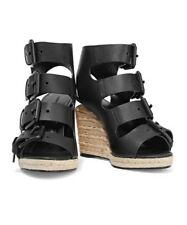 NIB Alexander Wang Black Jo Leather Chunky Strap Wedge Espadrille Sandals SZ 6.5