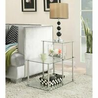 Glass End Table Sofa Side 3-Tier Display Shelves Living Room Modern Contemporary