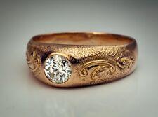 Vintage 0.60 Ct Diamond Solitaire Unisex Gold Ring (originally Romanov Russia)