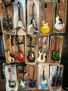 15 Miniature Guitar Bass Replica Collection Display w 12 stands Mixed Lot