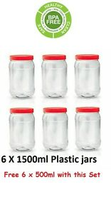 6 X 1500ml Plastic Storage Pet Jars Containers Pots Screw Top Canisters Spice