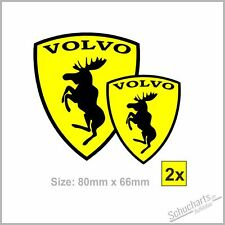 """2X""""Volvo Elch Ferrari"""" Aufkleber C30 V40 V50 S/V70 S80 S/V90 V60 XC60/70/90 S/W"""