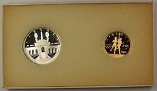 1984-W & S Gold $10 and Silver $1 Olympic Commemorative 2 Coin Proof Set in OGP