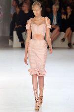 Alexander McQueen Runway Copper Thread Beaded Organza Corset Dress 42 IT $23,000
