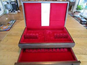 VINTAGE LARGE WOODEN FLATWARE STORAGE CHEST BOX CASE 2-DRAWER-EXCL**************