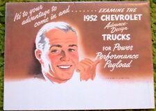 1952 Chevrolet Trucks Full Line Foldout Sales Brochure 52 Chevy