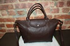 NEW LONGCHAMP Modele Depose Le Pliage CUIR Small Tote Brown Leather Satchel Bag