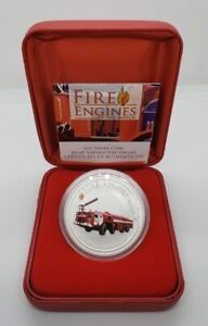 Cook Islands 2006 $1 Reverse Proof Silver AA-60 Airfield Fire Engine 1 oz  .999
