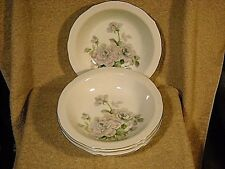 """set of (4) Bellaire """"Juliana"""" Soup Bowls Gray/Pink Flowers Green Leaves"""