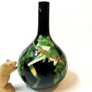 Hand Thrown Black Glazed Pottery Bottle Vase 30cm Incised Green Tree Frog Design
