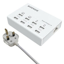 8 USB Ports Surge Protector Multiple Power Extension Lead for Phones Pads White
