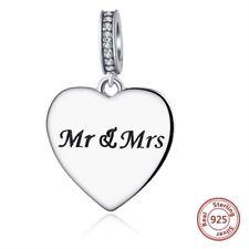 El señor y la señora casada encanto plata esterlina colgante de cuentas de compromiso Corazón Amor S925