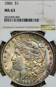 1886 $1 NGC MS63 Toned Morgan Silver Dollar - Toner, Toning
