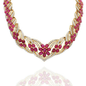 98.56ctw Ruby & 15.37ctw Diamond Statement Necklace in 18K Yellow Gold