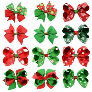 Hot Xmas Kid Baby Girl Children Toddler Flower Hair Clip Bow Accessories Hairpin