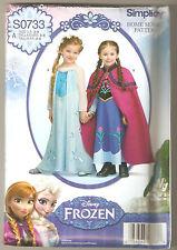 Simplicity Pattern 1233 / 0733 Disney Frozen Anna and Elsa Costume Sz 3-8