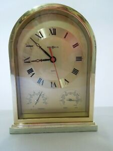 Howard Miller Brass Mantel Clock Thermometer & Barometer Silent Movement Japan