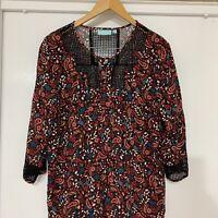 BLUE ILLUSION Paisley print Shirt Dress Tunic Holiday Boho   Size Large