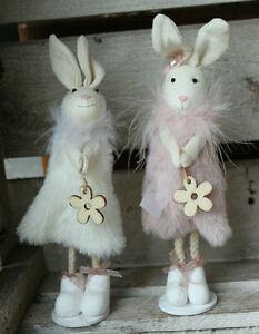 bezaubernde Hasendame in rosa oder weiß Blume Ostern Osterhase Stoffhase Deko