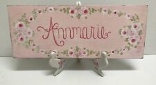 ❤HP SHABBY COTTAGE CHIC PINK ROSES HANDPAINTED ANNMARIE CUSTOMIZED FLORAL SIGN ❤