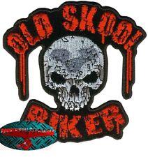 Old Skool Biker Patch ricamate aufbügler BIKER ROCKER MOTO HARLEY SKULL USA