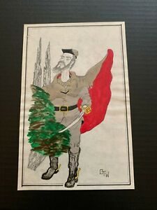 Vintage Civil War Soldier Pencil Drawing With Paint and Ink Highlights Signed