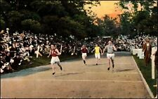 Men's College Track Field Foot Race w/Large Crowd Postcard Canonsburg PA c.1908