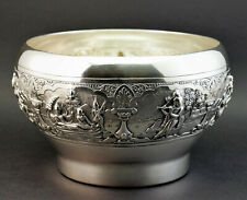 c1900, ANTIQUE INDIAN CALCUTTA SOLID SILVER REPOUSSE BOWL, DEITIES AND ANIMALS