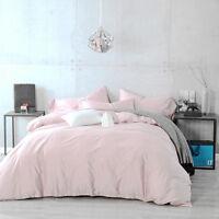 Pink Duvet Set Quilt Cover Grey & Pink 100% Cotton 400TC Double King Super Sizes