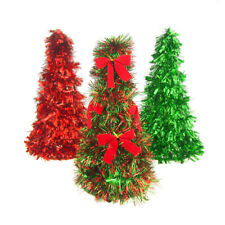 Metallic Tinsel Christmas Tabletop Tree, Red/Green, 10-Inch, 3-Piece