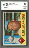 Jim Gilliam Card 1960 Topps #255 Los Angeles Dodgers BGS BCCG 8