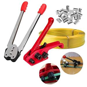 Pallet Parcel Strapping Packing Machine Kit 100m Banding Roll & Seals Clips Kits